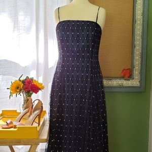 Navy Blue Adrianna Papell w/Tulle Overlay dress